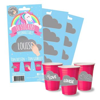 Lot de 10 stickers licorne my cup