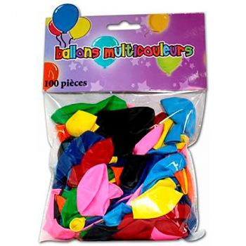Lot de 100 ballons latex multicolore