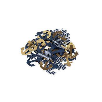 Lot de 100 confettis ancre or/bleu marine 2,5cm
