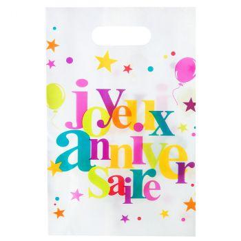 Lot de 100 sacs joyeux anniversaire multicolore 23cm