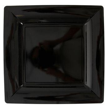 Lot de 12 assiettes carrées noir 23,5cm