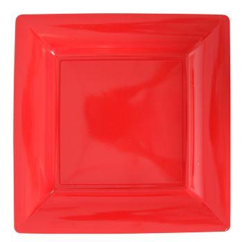 Lot de 12 assiettes carrées rouge 23,5cm