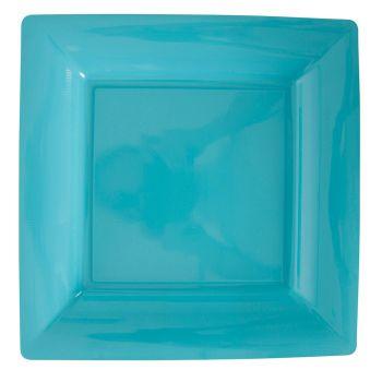 Lot de 12 assiettes carrées turquoise 23,5cm