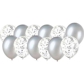 Lot de 12 ballons latex confettis argent