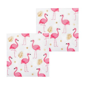 Lot de 12 serviettes flamants roses 33cm