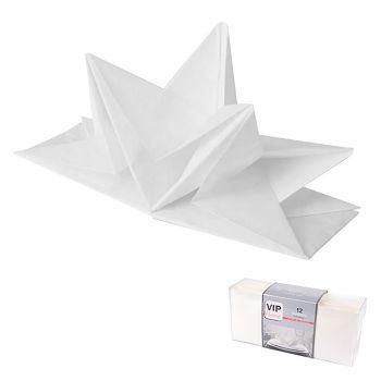 Lot de 12 serviettes prépliées 40x60cm blanc