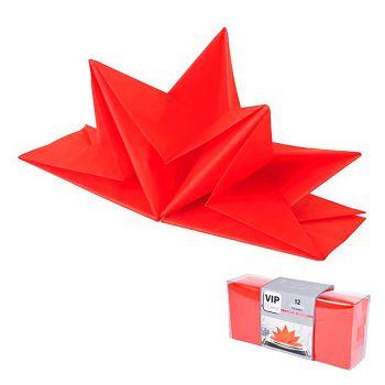 Lot de 12 serviettes prépliées 40x60cm rouge