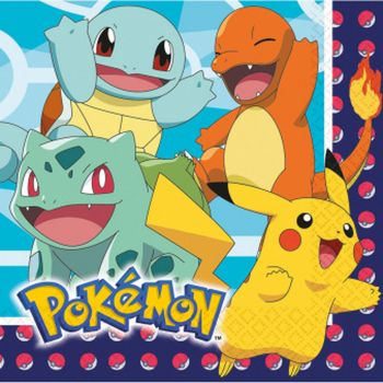 Lot de 16 serviettes Pokémon 33x33cm