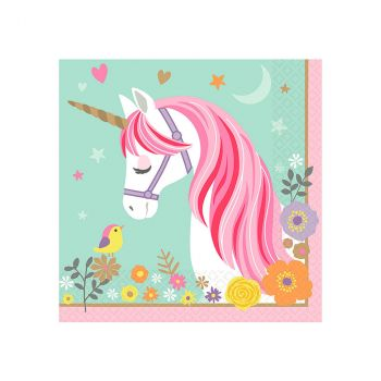 Lot de 16 serviettes unicorn 33x33cm