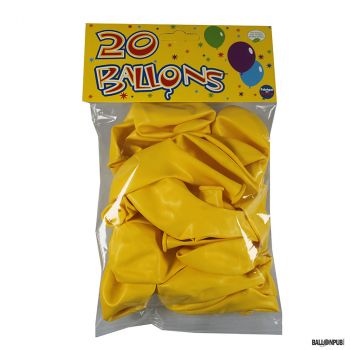 Lot de 20 ballons jaune latex 25cm