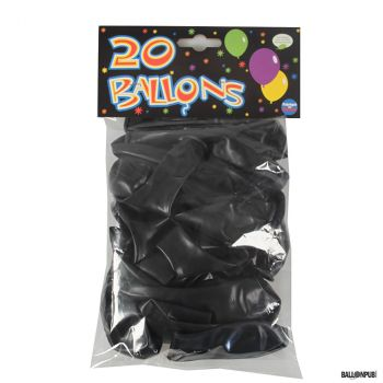 Lot de 20 ballons latex noir 25cm