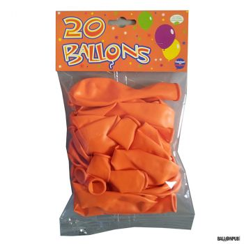 Lot de 20 ballons orange latex 25cm