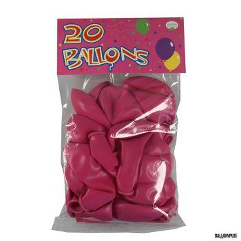 Lot de 20 ballons rose bonbon latex 25cm