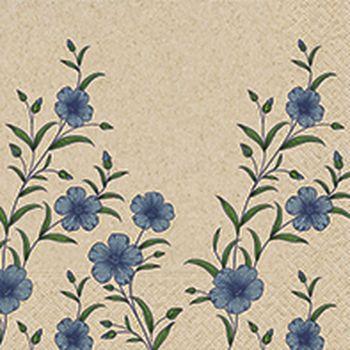 Lot de 20 serviettes fleur bleu 33cm