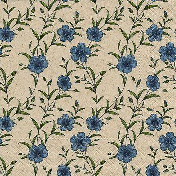 Lot de 20 serviettes fleurs bleues 33cm