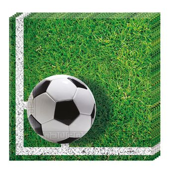 Lot de 20 serviettes Football 33x33cm