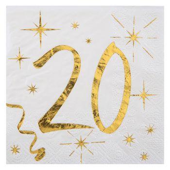 Lot de 20 serviettes métallisées 20 ans 25x20cm