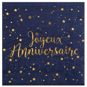 Lot de 20 serviettes métallisées joyeux anniversaire bleu