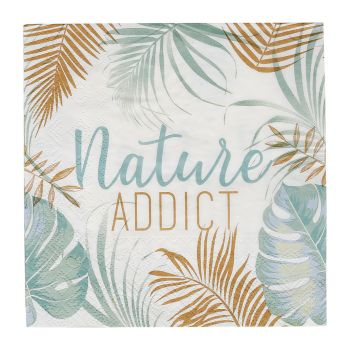 Lot de 20 serviettes nature addict 33cm