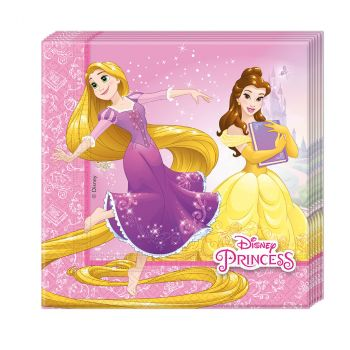 Lot de 20 serviettes princesse33x33cm
