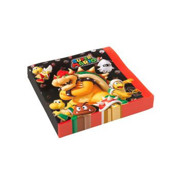 Lot de 20 serviettes super mario 33x33cm
