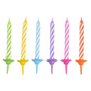 Lot de 24 bougies anniversaire multicolore