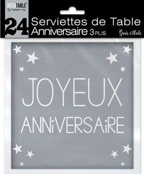 Lot de 24 serviettes anniversaire gris