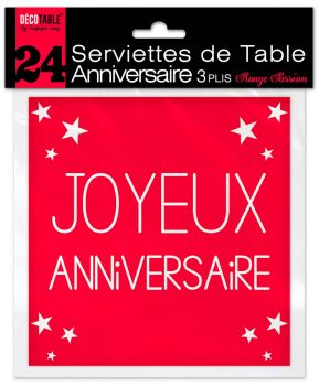 Lot de 24 serviettes anniversaire rouge