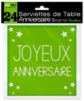 Lot de 24 serviettes anniversaire vert