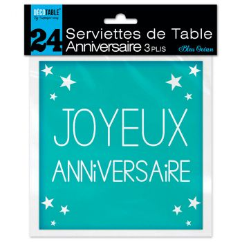Lot de 24 serviettes bleu