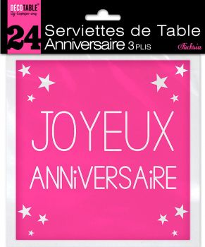 Lot de 24 serviettes fuchsia