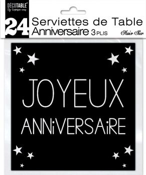 Lot de 24 serviettes noir