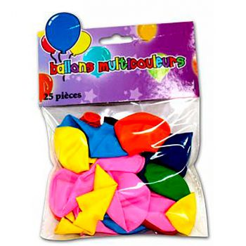 Lot de 25 ballons latex multicolore