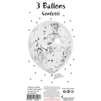 Lot de 3 ballons latex confettis argent