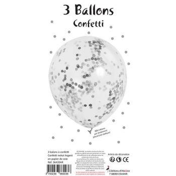 Lot de 3 ballons latex confettis argent