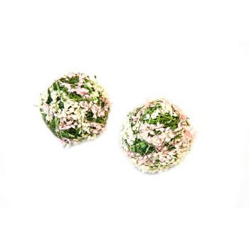 Lot de 4 boules déco fleuries rose 5cm
