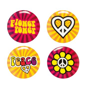 Lot de 4 boutons hippie 3cm