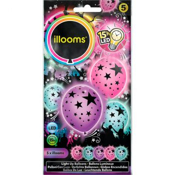 Lot de 5 ballons led anniversaire