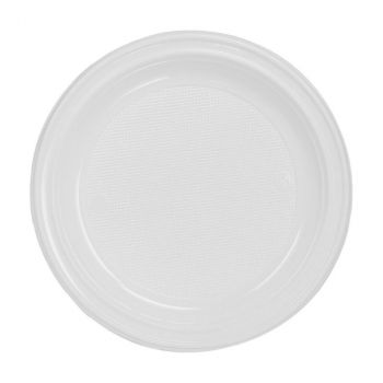 Lot de 50 assiettes réutilisables blanc 17cm