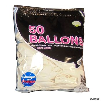 Lot de 50 ballons blanc latex 25cm