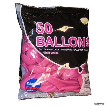 Lot de 50 ballons rose bonbon latex 25cm