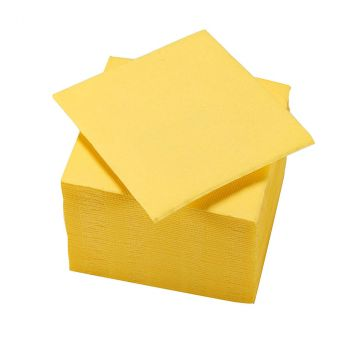 Lot de 50 serviettes cocktail 25x25cm jaune