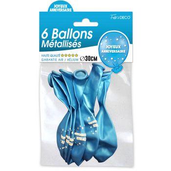 Lot de 6 ballons joyeux anniversaire bleu