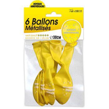 Lot de 6 ballons  joyeux anniversaire jaune