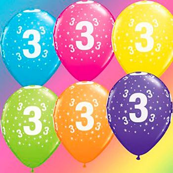 Lot de 6 ballons latex 3 ans multicolore 28cm