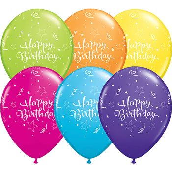 Lot de 6 ballons latex happy birthday multicolore 28cm