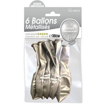 Lot de 6 ballons latex joyeux anniversaire argent