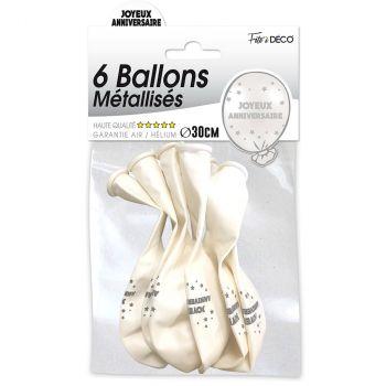 Lot de 6 ballons latex joyeux anniversaire blanc