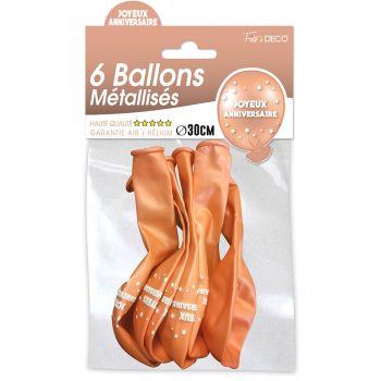Lot de 6 ballons latex joyeux anniversaire cuivre