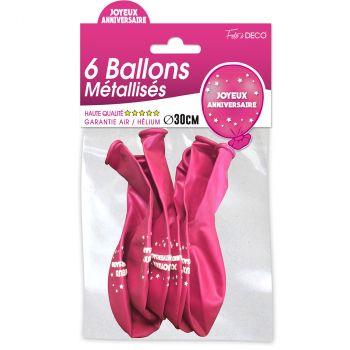 Lot de 6 ballons latex joyeux anniversaire fuchsia